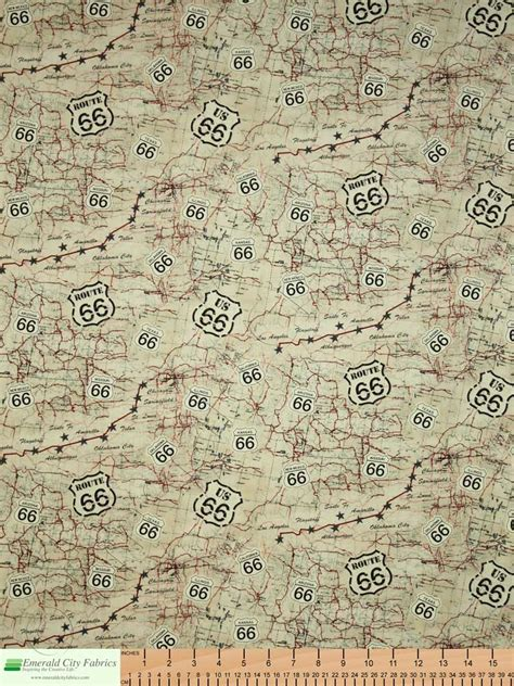 map fabric timeless treasures route 66 map beige fabric emerald city fabrics