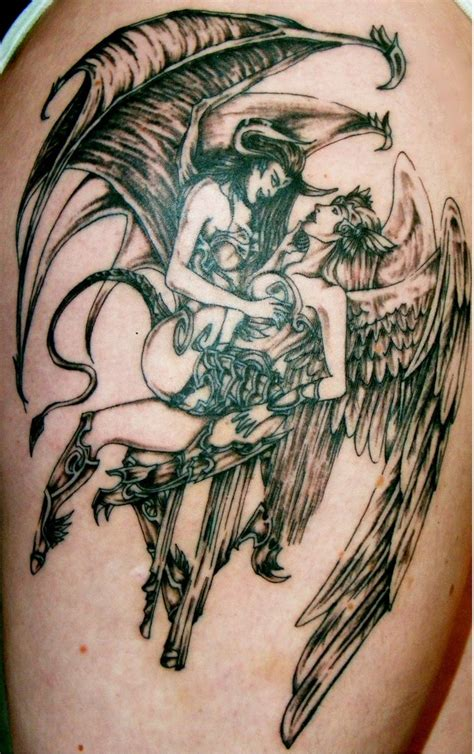 angel and devil on your shoulder tattoo grey ink devil and angel tattoo on shoulder tattooshunt com