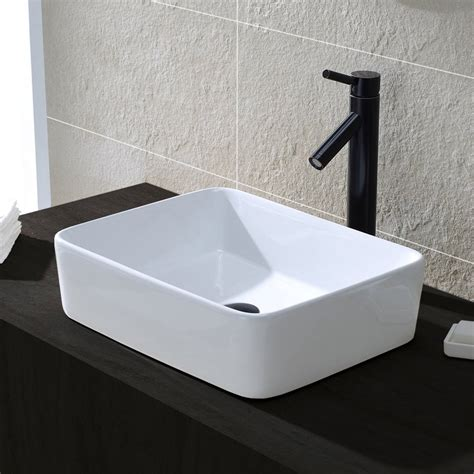 Above Counter Sinks by Comllen Above Counter White Porcelain Ceramic Bathroom