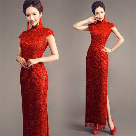 traditional chinese cheongsam dresses solid red traditional long cheongsam sequin lace qipao