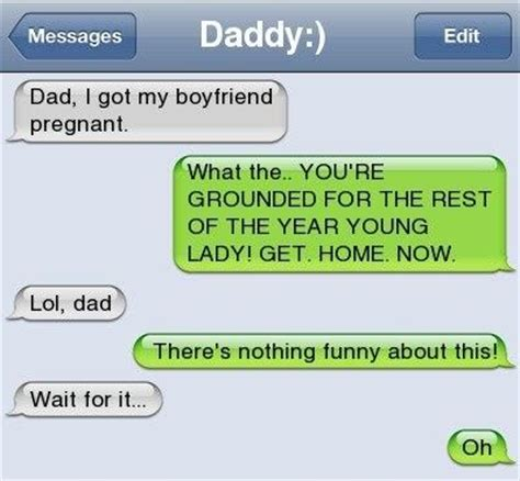 scary text messages dad i got my boyfriend pregnant
