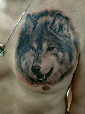 black and grey wolf tattoo wolf black and grey on chest