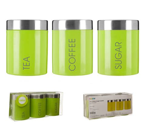 Green Kitchen Canisters by Lime Green Liberty Enamel Tea Coffee Sugar Bread Biscuit