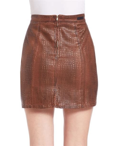 guess croc embossed faux leather skirt in brown lyst