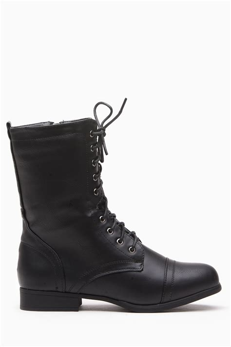 womens black lace up boots black faux leather lace up combat boots cicihot boots