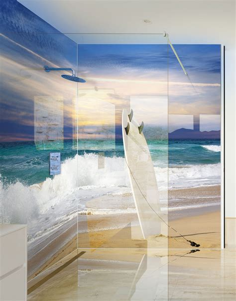 Shower Wall Board Acrylic by Surf Board In Sand On Printed Shower Panels Splash
