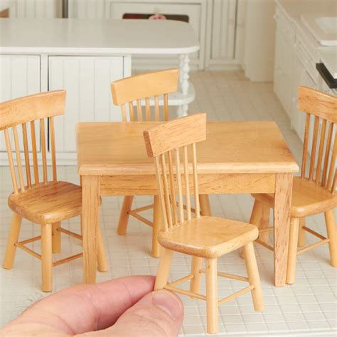 Light Oak Kitchen Table Dollhouse Miniature Light Oak Kitchen Table And Chair Set Kitchen Miniatures Dollhouse