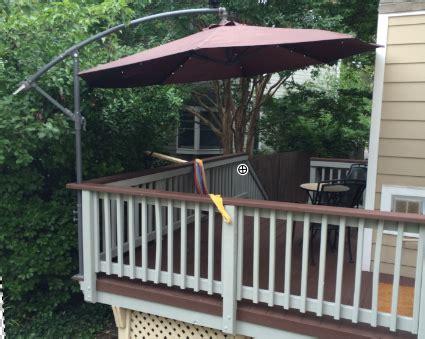 boat rail mount umbrella mount a deck umbrella to save space home automation guru