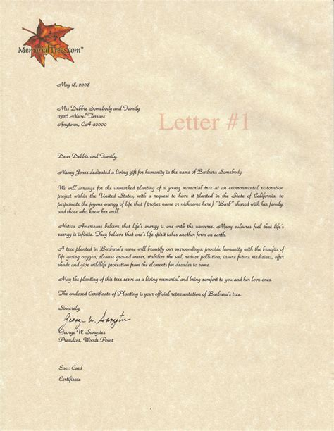 Sle Of Sympathy Letter by Sle Sympathy Letters Memorial Trees