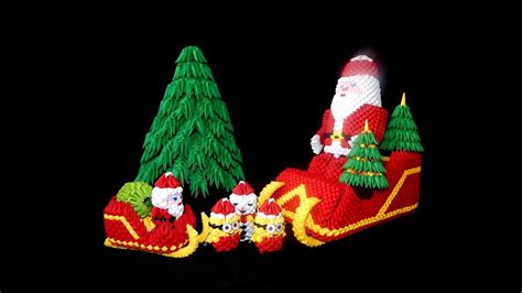 diy paper sleigh kids 3d origami santa claus sleigh tutorial diy paper santa claus sleigh