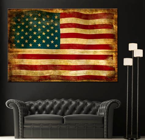 American Flag Home Decor Vintage American Flag Home Decor Wall Canvas Giclee Print
