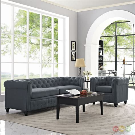 Upholstered Living Room Sets Earl Contemporary 2pc Fabric Upholstered Living Room Set Gray
