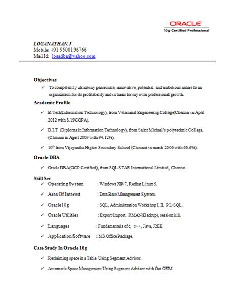 Resume Writing Certification Oracle Certified Professional Resume