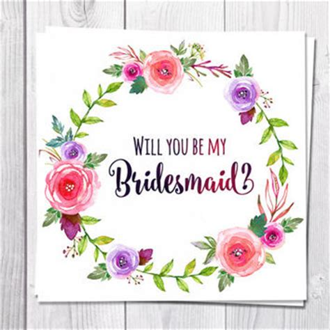 will you be my flower card template shop be my bridesmaid card on wanelo