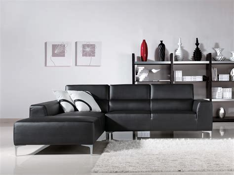 Furniture Gorgeous Dark Grey Leather Sectional For Cozy Black L Tables For Living Room