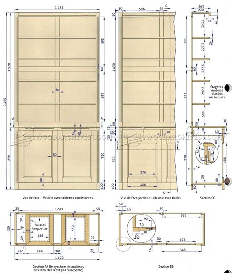 build blueprints built in bookcase plans woodarchivist