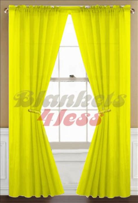 Bright Yellow Curtains New 2 Pcs Sheer Voile Window Curtain Panel Set Bright Yellow 120 X84 Ebay