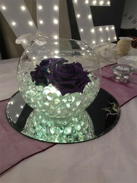 Fish Bowl Wedding Centrepiece For Purple Themed Weddings Wedding Centerpiece Bowls