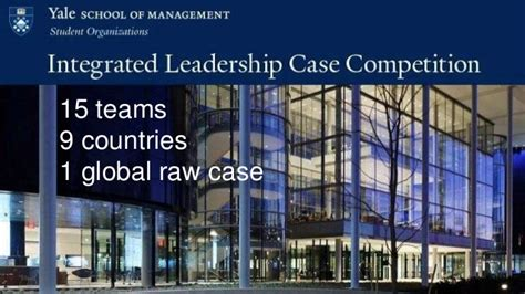Yale Mba For Executives Cost by Integrated Leadership Competition Yale Som