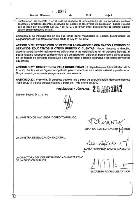 salarios decreto 2277 magisterio decreto de salario 2012 del 2277