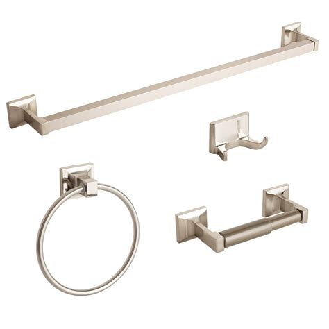 bathroom hardware set new brushed nickel 4 piece bathroom hardware bath accessories set towel bar ring ebay
