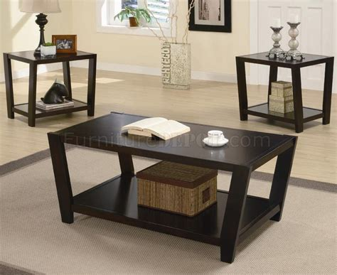rich cappuccino finish modern 3pc coffee table set
