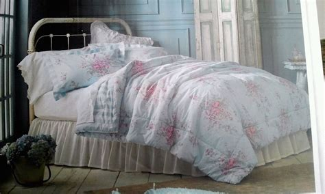 simply shabby chic blue cabbage rose comforter sham