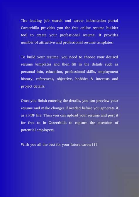 Resume Builder Tool by Free Resume Builder Tool