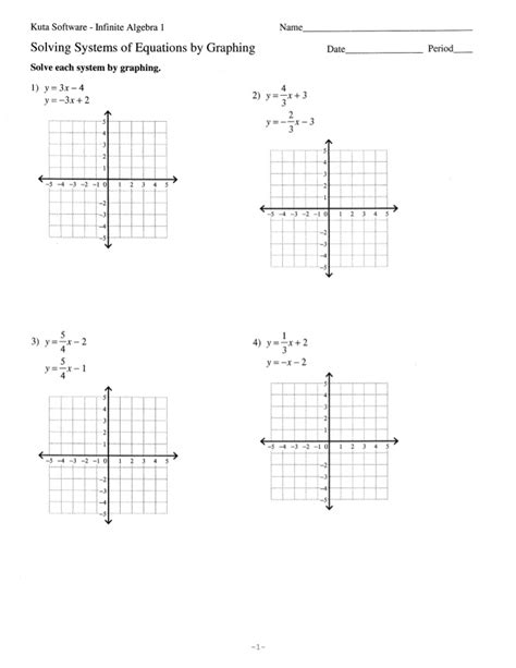 Solve Each System By Graphing Worksheet by Solve Systems Of Equations By Graphing 11 2 11