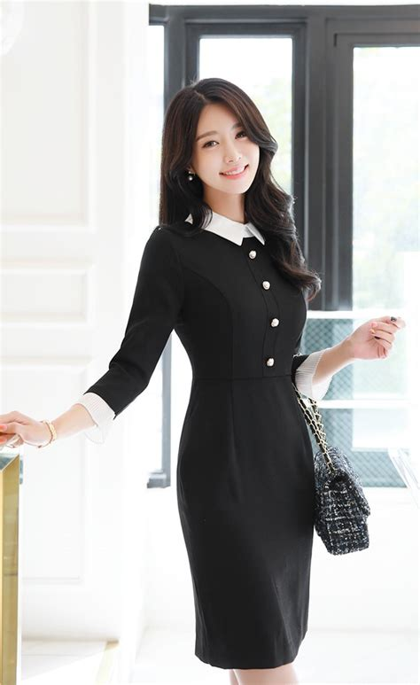Preorder Dress Import Murah 65235 black and white pearl button collared dress dresses