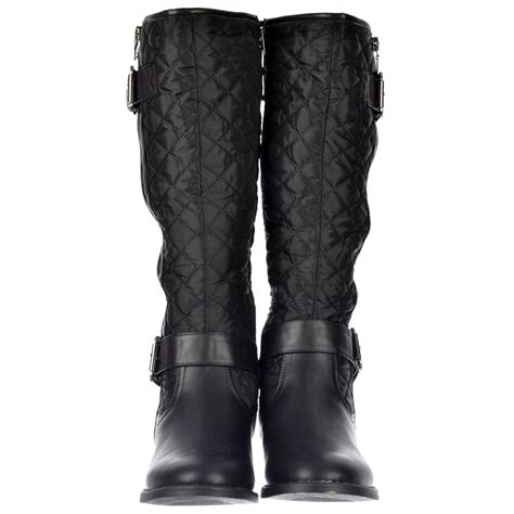 shoekandi knee high quilted boots with buckle and