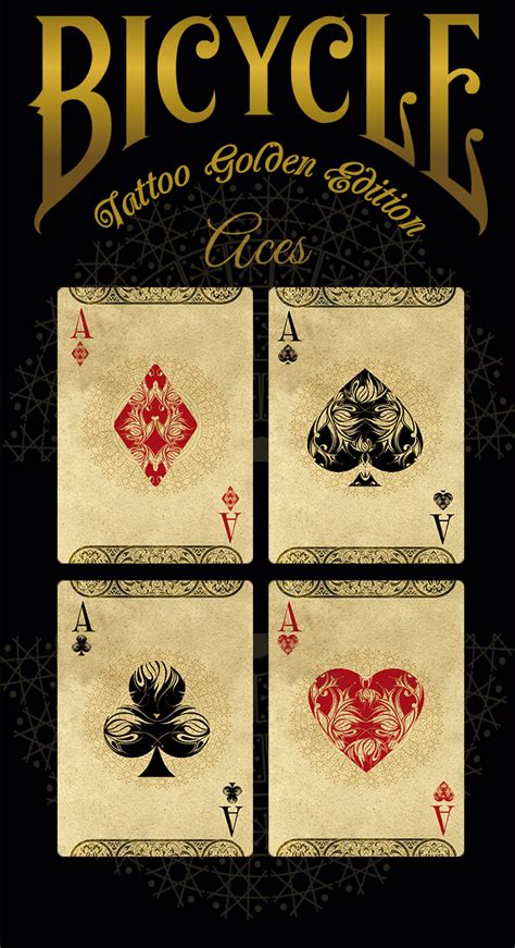 deck of cards tattoo bicycle 174 golden edition cards by