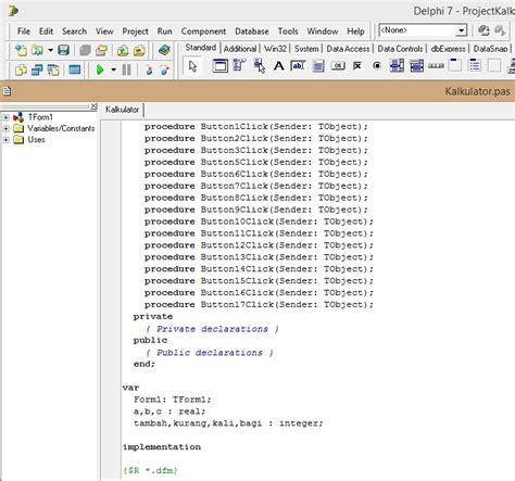 tutorial kalkulator delphi 7 assalamu alaikum cara membuat kalkulator di delphi 7