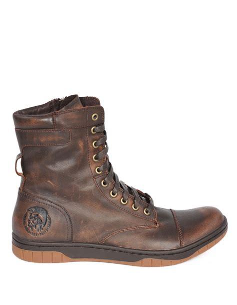 Diesel Leather Brown diesel tatradium basket butch zip boots in brown for save 6 lyst