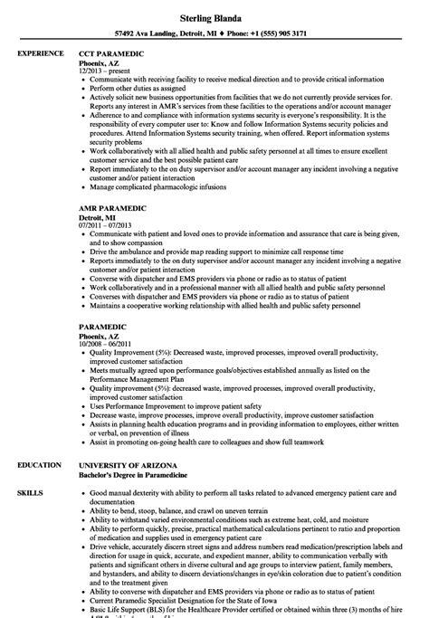 Paramedic Resume by Paramedic Resume Sles Velvet