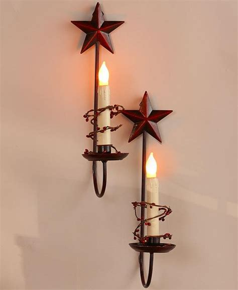 Country Wall Sconces For Candles set of 2 primitive country berry vine led candle or wall sconces ebay
