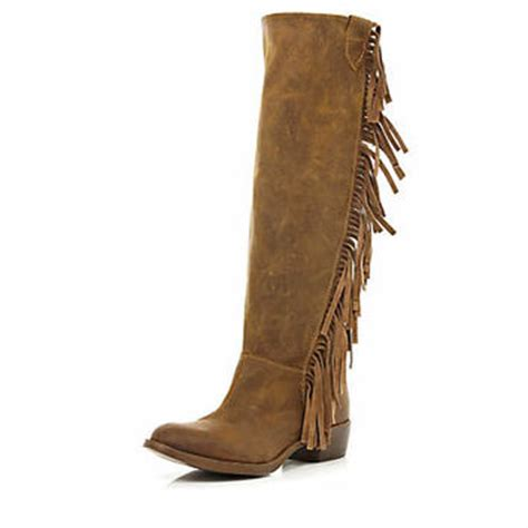 brown fringed knee high western boots from river island