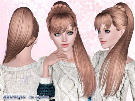 side ponytail sims 3 side ponytail hair 191 by skysims sims 3 downloads cc