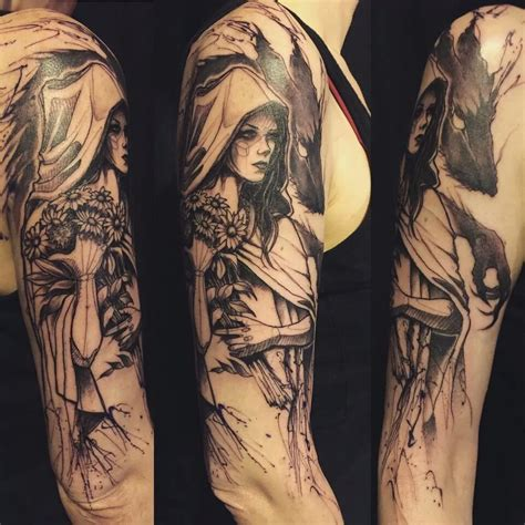 red riding hood tattoo of and the wolf cool