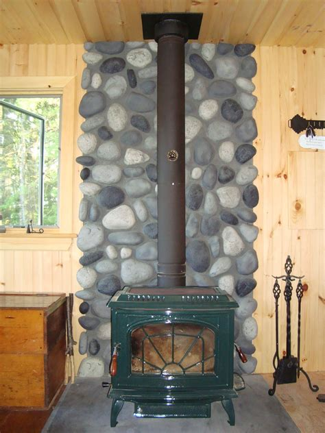 Wood Stove Wall Shield in River Rock   Creative Faux Panels