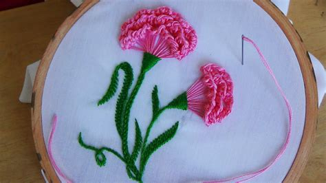 Handmade Embroidery Design - embroidery carnation flower viyoutube