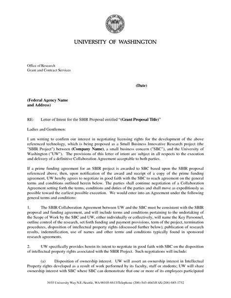 Letter Of Intent Nih Best Photos Of Letter Of Intent Grant Writing Sle