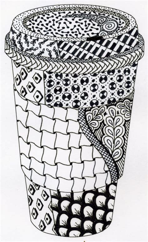 zentangle love pattern zen doodle coffee this coffee set will have 4 designs