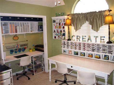 Contemporary Scrapbook Room Design White Desk And Craft Desk Organization Ideas