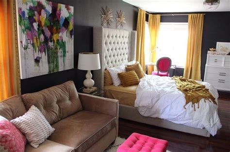 pink black and gold bedroom sophisticated chic bedroom redesign by astral riles color