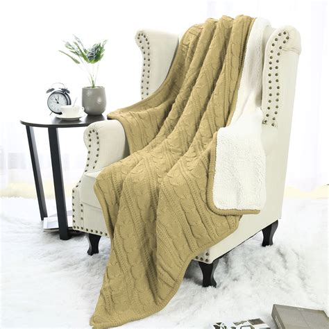 soft sofa couch bed cable knit reversible throw blanket