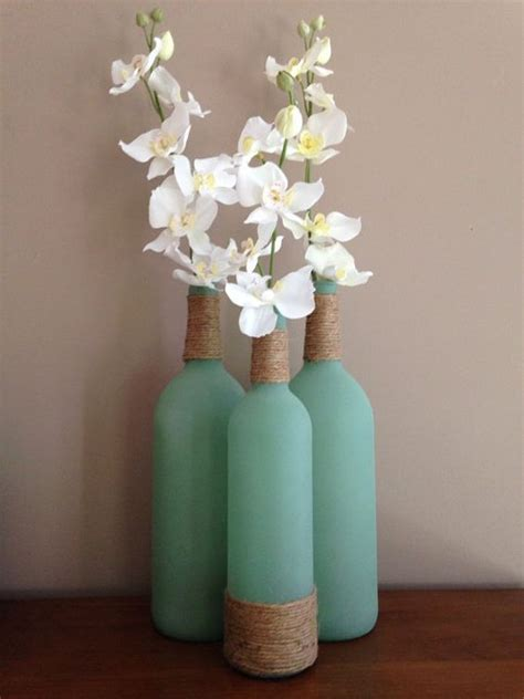 Sea Glass Bottles Ideas 2 Large 1 Regular Size Sea Glass Wine Bottles Wrapped With Twine Filled With Silk Flowers