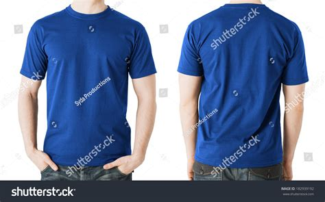 design t shirt front and back clothing design concept man blank blue stock photo