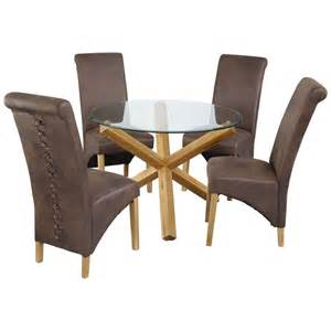 Glass Dining Table Sets 4 Oak Glass Dining Table And Chair Set With 4 Leather Seats Black Brown Ebay