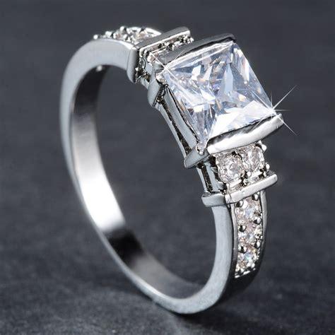 18k white gold filled sapphire engagement wedding ring